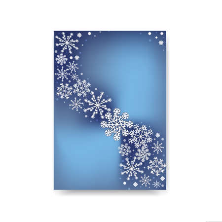 Abstract blurred gradient mesh background with white snowflakes with shadow. Winter Colorful smooth banner template cover of greeting card. Easy editable soft colored pattern illustration.