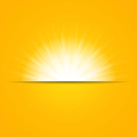 Bright white Sun Rays yellow on Background. Light Beautiful Sunny Backdrop.