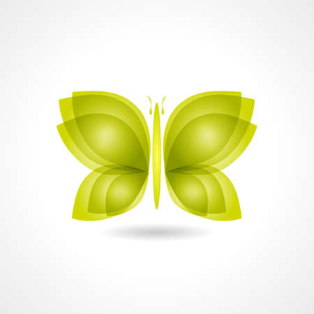 Green gradient butterfly icon. Elegant Design Wildlife Background