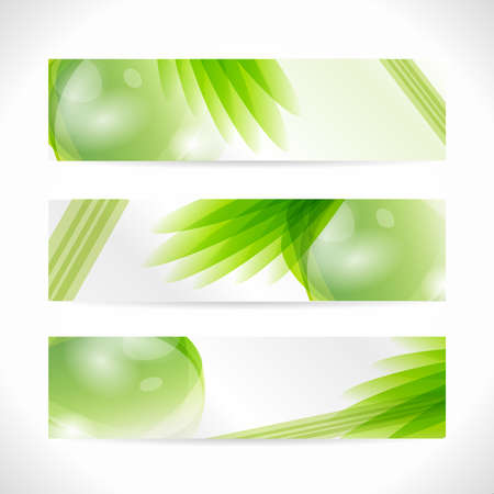 Set of plants Eco Banner. Web nature background. Green abstract organic illustration