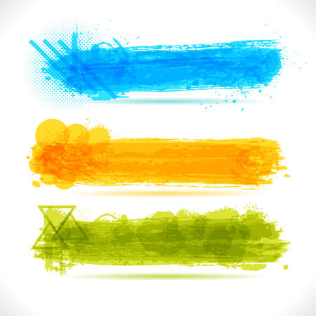 Set of Grunge Banners. Abstract brush Art Backgrounds. Cool colorful graffiti design illustration