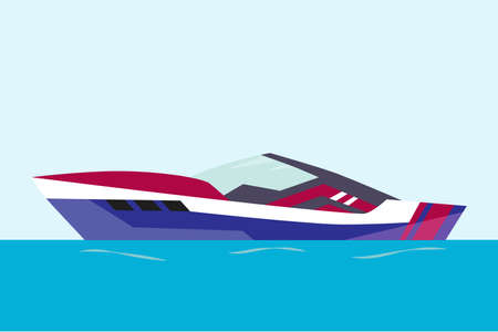 Vector modern yacht illustration. Ship at sea transport, shipping boat Ilustracja