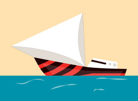Sailing boat, water isolated transport icon. Ship at sea, travel, shipping boat, motor boat ocean transport. Flat vector illustration Illustration