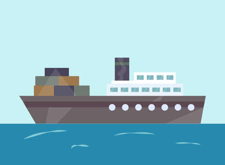 Vector tugboat illustration. Ship at sea transport, shipping boat. Water isolated transport icon