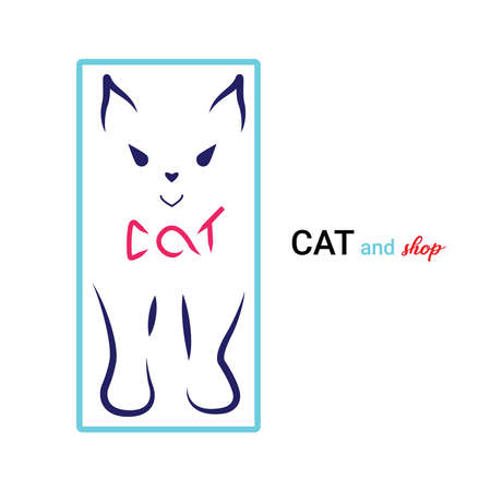 Kitten icon Design. Stylized silhouette of cat abstract sign. Vector illustration