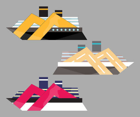 Version icon of cruise liner. Ship at sea, travel, water transport, boat and vessel. Flat vector illustration.  イラスト・ベクター素材