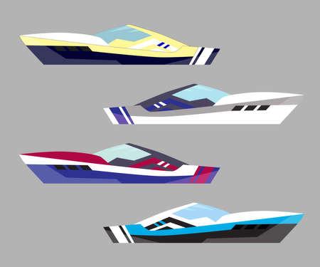 Version modern yacht icons. Ship at sea transport, shipping boat. Vector illustration.