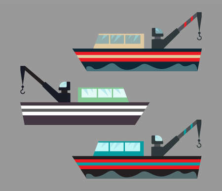 Version of icons fishing ships with hook. Ship at sea transport, shipping boat. Flat vector illustration. Illustration
