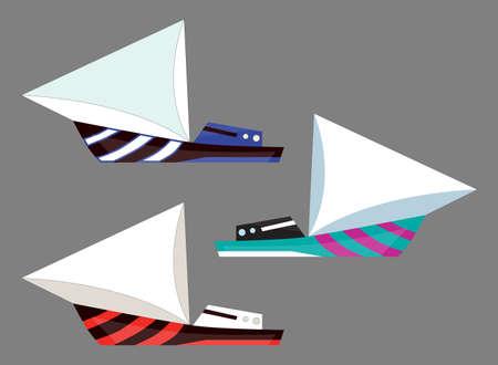 Version sailing boat icons. Flat vector water isolated transport illustration. Ship at sea, travel, shipping boat, motor boat ocean transport.