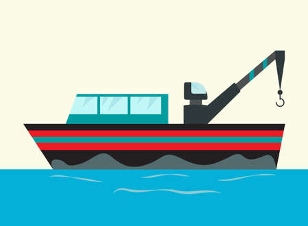 Jpeg illustration fishing ships with hook. Ship at sea transport, shipping boat