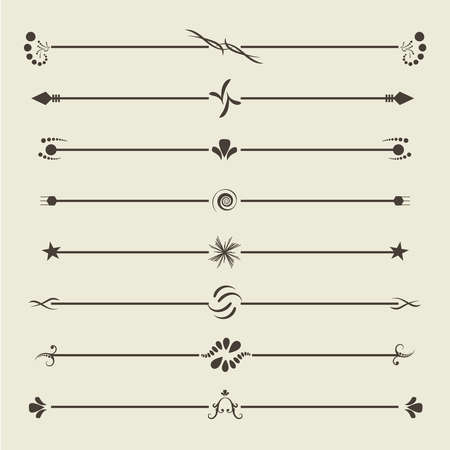 Bruine kalligrafische swirl-verdelers. Vintage ornament wenskaart. Ornament Retro Uitnodiging. Certificaat frame-element. JPEG-afbeelding Stockfoto