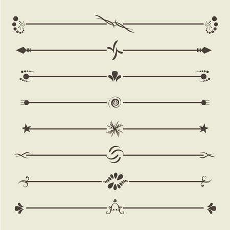 Divisori a vortice calligrafici marroni. Cartolina d'auguri dell'ornamento dell'annata. Invito retrò di ornamento. Elemento cornice certificato. Illustrazione JPEG Archivio Fotografico