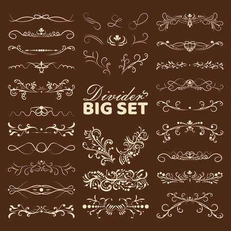 Big set of decorative flourishes hand drawn dividers. Victorian Collection ornate page decor elements banners, frames, dividers, ornaments and patterns. Vector design elements. Vettoriali