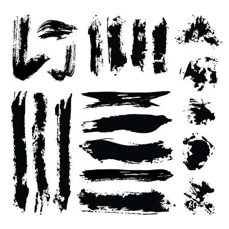Set of Black ink grunge artistic brush strokes, brushes. Jpeg Collection of brush strokes template. Creative design elements. Reklamní fotografie