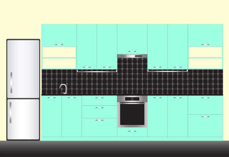 Vector illustration of modern kitchen interior in linear flat style. Kitchen furniture. Mint and black color style.