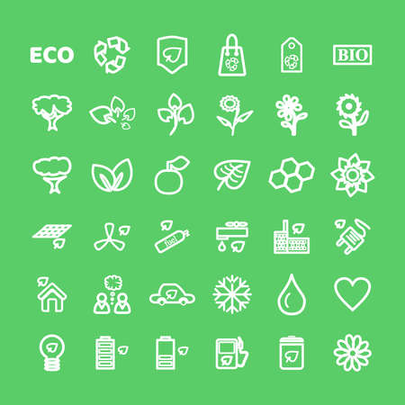 Set of vector White Eco Icons on green in flat thin line style. Ecology, Nature, Energy, Environment and Recycle Icons.  イラスト・ベクター素材