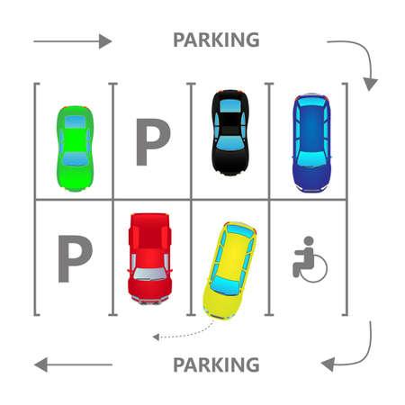 Top view city car parking vector illustration. Different cars in flat style. Parking zone. Vektoros illusztráció