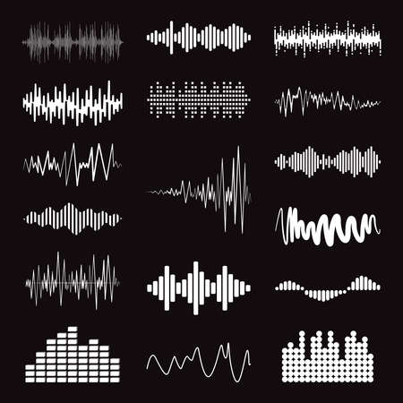 Big collection white music wave on black background. Vector set of isolated audio logos, pulse players, equalizer symbols sound design elements. Vettoriali