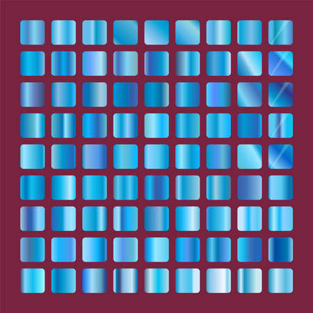 Blue squares glass collection. Background glassworks texture vector icon. Set of blue gradients. Elegant blue metallic gradient illustration.