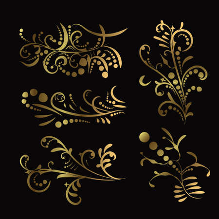 Victorian set of golden ornate page decor elements like banners, frames, dividers, ornaments and patterns on dark. Gold calligraphic swirl elements. Jpeg illustration. 写真素材