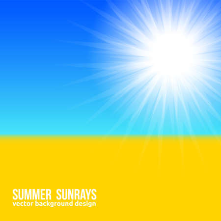 Blurred yellow field and blue sky with summer sunburst background in Ukrainians flag style. Vector sunbeams banner Bright poster, sun rays, sky and beach.