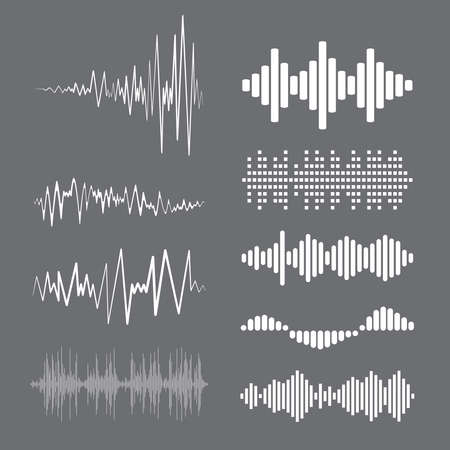 Collection white music wave on gray background. Vector set of isolated audio logos, pulse players, equalizer symbols sound design elements.
