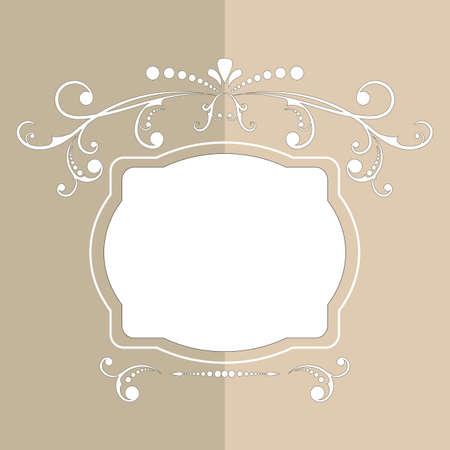 Calligraphic design frame with pastel design. Vintage elegant text border. Luxury flourish frame, border, label. Decoration for greeting cards, wedding album or restaurant menu. Jpeg. Banque d'images