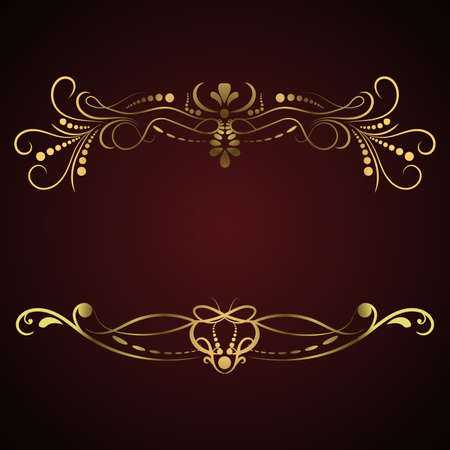 Golden Calligraphic frame. Luxury flourish frame, border, label. Original design elements. Decoration for greeting cards, wedding album or restaurant menu. Jpeg illustration.
