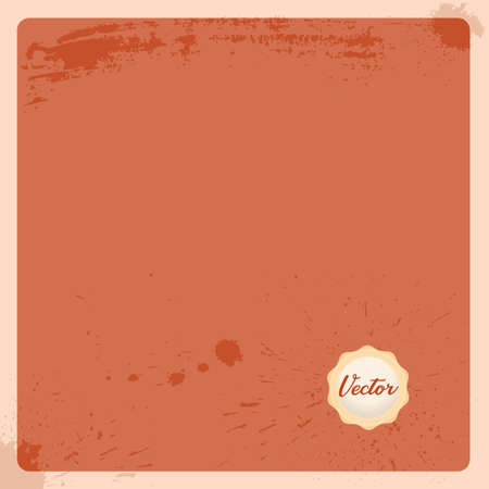 Empty antique page with wax stamp seal. Old terracotta paper background with light cream stamp. Vector illustration.