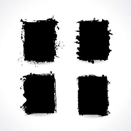 Set of blank black ink grunge frames. Jpeg illustration piece paper with torn border