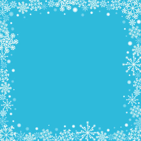 Frame with white snowflakes and dots. Blue holiday background with frosted decorative ornament. Winter pattern celebration banner. Jpeg illustration.