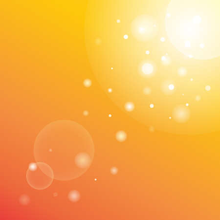 Sun rays with bokeh on orange sky background. Modern summer picture with a sunburst sunbeams. Bright beautiful sunny vector illustration. Abstract colorful banner template