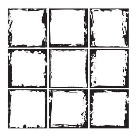Black ink square grunge frames collection. Vintage photo frames template set. Messy design border. Jpeg illustration
