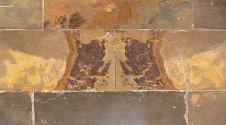 peculiar: Peculiar sedimentary STONE - oil painting landscape - building patch
