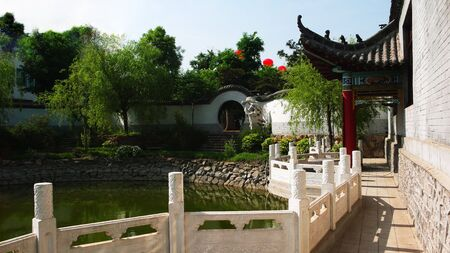 Garden - moon gate and Gallery pavilion - Chinese Classical
