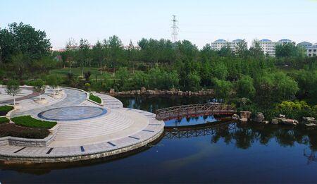 temporary: Park temporary bridge on the water Stock Photo