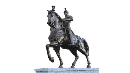 warlords: The ancient warrior riding metal sculpture, art, publicity Stock Photo