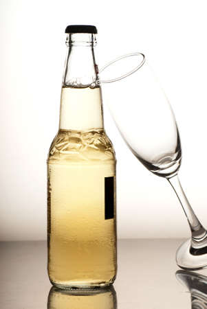 beer bottle and wine glass