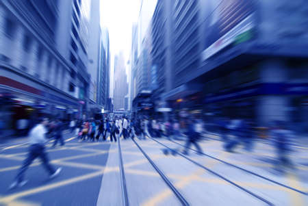 rush hour: rushing on the street in motion blur  Stock Photo