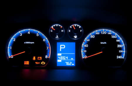 speeding car: Car instrument panel  Stock Photo
