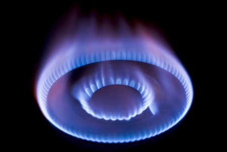 gas flame: burning on a gas stove in the kitchen