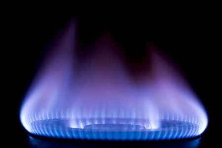 estufa: quema en una estufa de gas en la cocina Foto de archivo