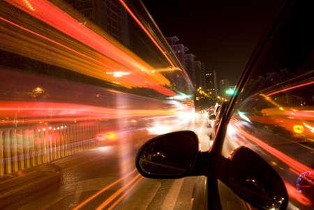 street racing: car fast drive at night