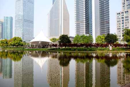 the modern building of the financial center Stock Photo