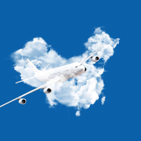 airplane flying from chinese clouds map photo