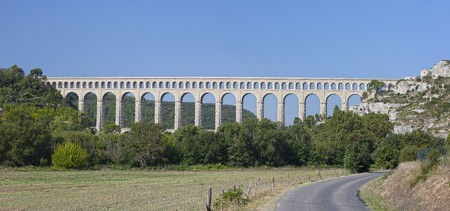 Panoramic view of the largest stone aqueduct in Roquefavour (France)