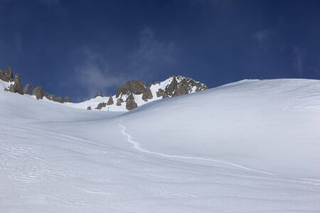 ski traces: Ski traces on virgin snow in the Alps