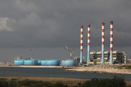 Big power plant with four high chimneys