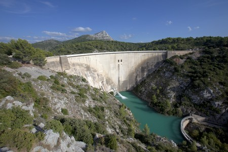 Large concrete hydroelectric dam in southern France photo
