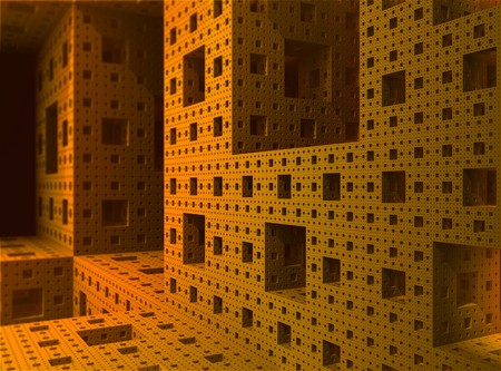 Render of the inside of a 3D Sierpinski Menger fractal object Stock Photo